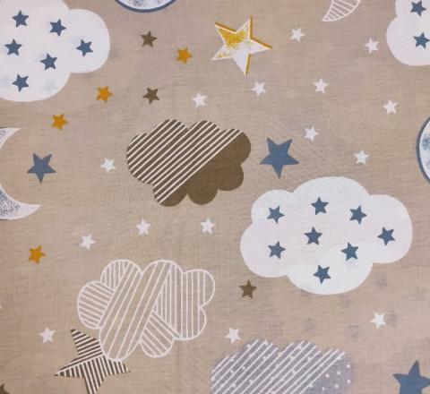 Бязь Ranforce облака, луна и звезды на бежевом