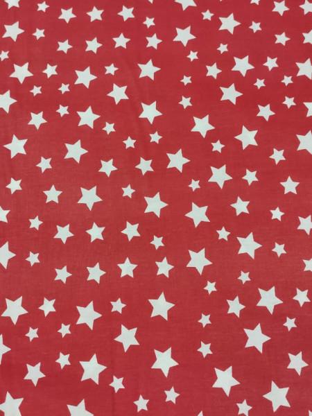Бязь Ranforce белые звезды на красном фоне крупные