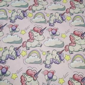 Бязь Ranforce сонные единорожки на розовом фоне