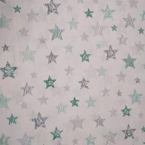 Бязь Ranforce серо-мятные звезды заштрихованные