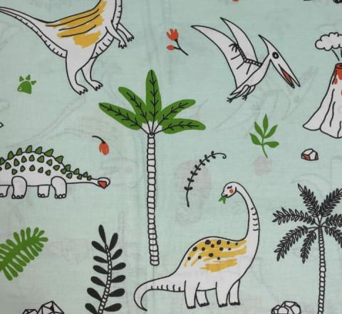 Бязь Ranforce динозаврики  на мятном фоне