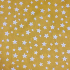 Бязь Ranforce белые звезды на желтом фоне крупные