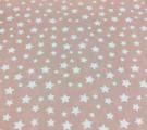 Бязь Ranforce белые звезды на пыльно-розовом фоне