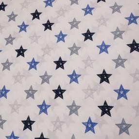 Бязь Ranforce  серо-синие звезды нарисованные