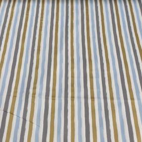 Бязь Ranforce с глиттером голубые, золотые и серые полоски