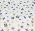 Бязь Ranforce  синие звезды акварель