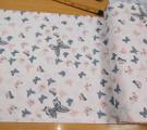 Бязь Ranforce серые и пыльно-розовые бабочки