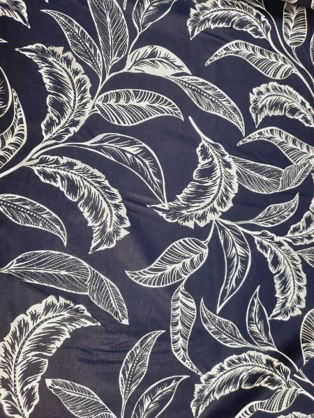 Бязь Ranforce  белые листья на темно-синем фоне