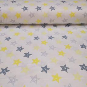 Бязь Ranforce  серо-желтые звезды нарисованные