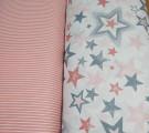Бязь Ranforce серо-пыльно-розовые звезды разные