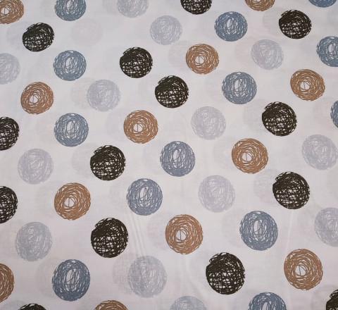 Бязь Ranforce серо-коричневые круги нарисованные
