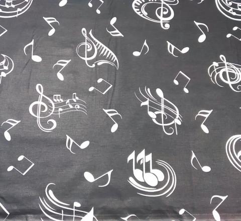 Бязь Ranforce белые ноты на черном фоне