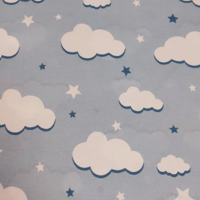 Бязь Ranforce белые облака на голубом фоне крупные