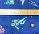 Бязь Ranforce Космонавты в космосе на синем фоне
