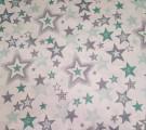 Бязь Ranforce серо-мятные звезды разные