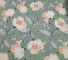 Бязь Ranforce Бежевые цветы на зеленом фоне
