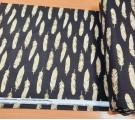 Бязь Ranforce золотые перья из глиттера на черном фоне