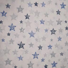 Бязь Ranforce серо-синие звезды заштрихованные