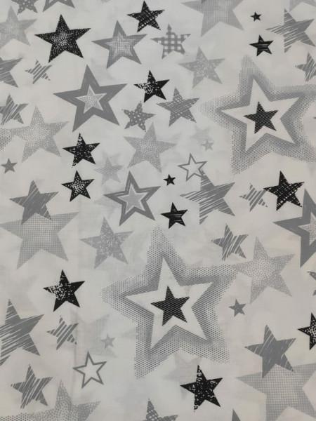 Бязь Ranforce  серо-черные звезды разные