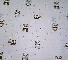 Бязь Ranforce панды на голубом фоне