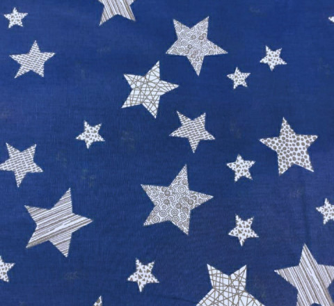 Бязь Ranforce большие звезды на темно-синем фоне