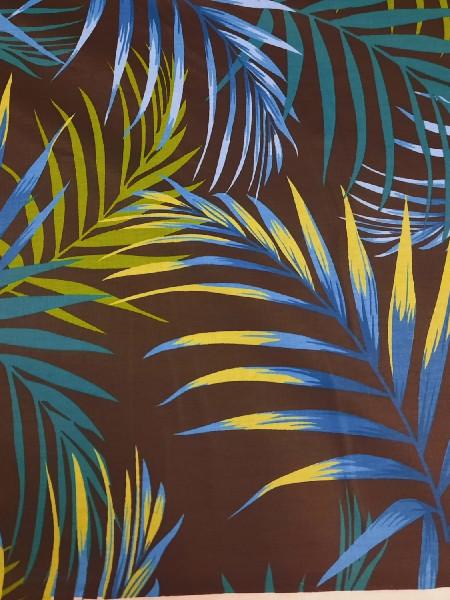 Бязь Ranforce  Тропики неоновые листья на черном фоне