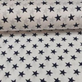Бязь Ranforce темно-синие звезды на белом фоне крупные