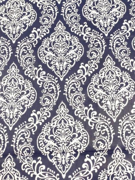 Бязь Ranforce белые узоры на темно-синем фоне