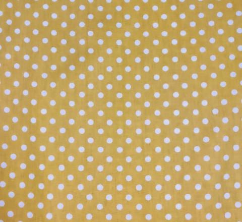 Бязь Ranforce белый горох на желтом фоне крупный