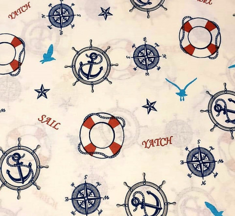 Бязь Ranforce морская тема, синие и красные штурвалы 2