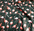 Перкаль. Фламинго на черном фоне