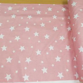 Бязь Ranforce белые звезды на пыльно-розовом фоне крупные средние