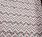 Бязь Ranforce пыльно-розовый зигаг с горошками на белом фоне
