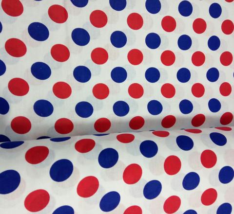 Бязь модная. Сине-красные круги на белом фоне