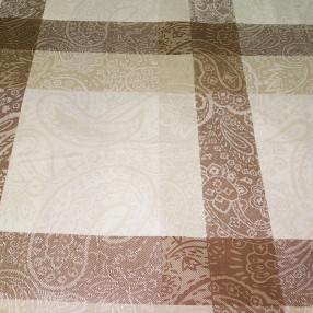Бязь Ranforce коричнево-бежевый орнамент на квадратах