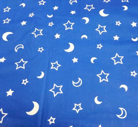 Поплин. Луна и звезды на синем фоне