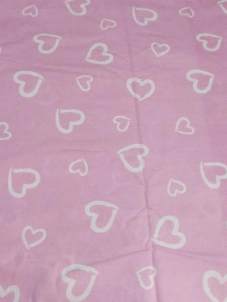 Поплин. Белые сердечки на розовом фоне