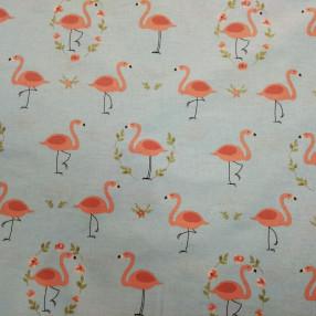 Бязь Ranforce розовые фламинго на пыльно-голубом фоне