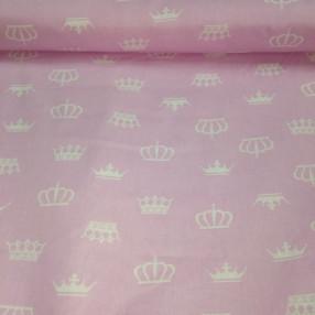 Бязь модная. Белые короны на розовом фоне