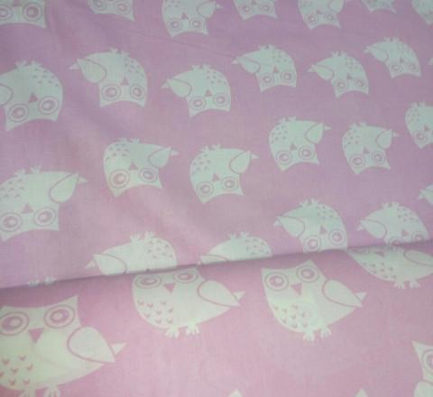 Бязь модная. Белые совы на розовом фоне