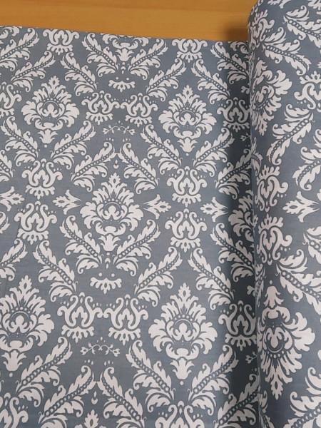 Бязь Ranforce белые узоры на темно-сером фоне