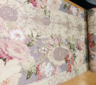 Бязь Ranforce пудровые цветы на серо-фиолетовом