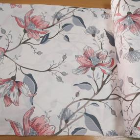 Бязь Ranforce серо-розовые цветы