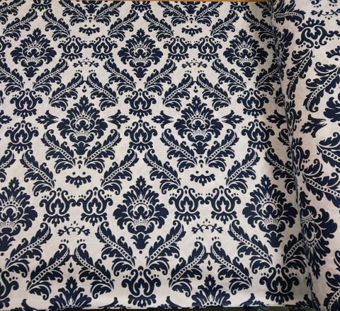 Бязь Ranforce темно-синие узоры на белом