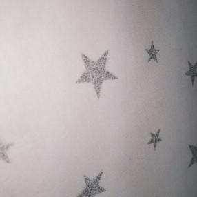 Бязь Ranforce звездочки с серебряным глиттером