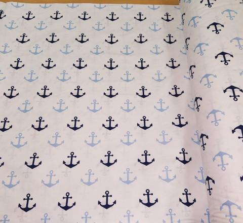 Бязь Ranforce морская тема, сине-голубые якоря