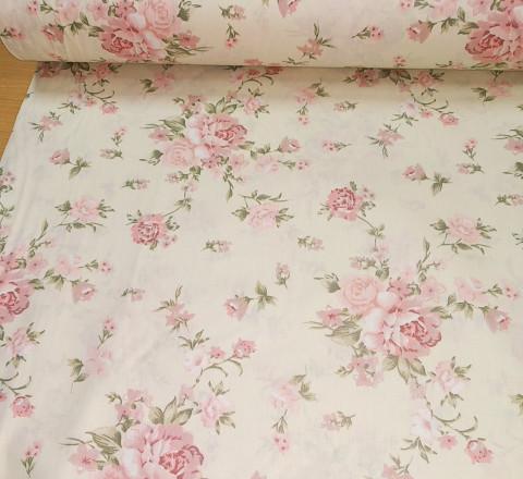 Бязь Ranforce Нежность пыльно-розовые цветы