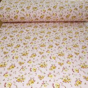Бязь Ranforce жёлтые розочки на розовом фоне
