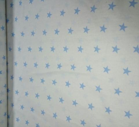 Бязь модная. Голубые звезды на белом фоне