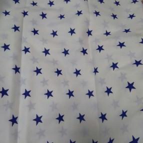Бязь модная. Синие звезды на белом фоне